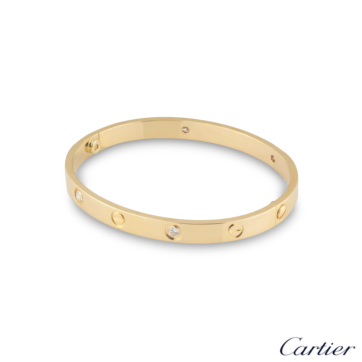 Cartier Yellow Gold Half Diamond Love Bracelet Size 16 B6035916